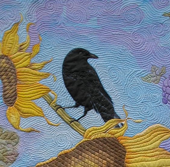 Art Quilt Sunflowers Grapes and One Ominous Crow by paintedquilts, $2750.00