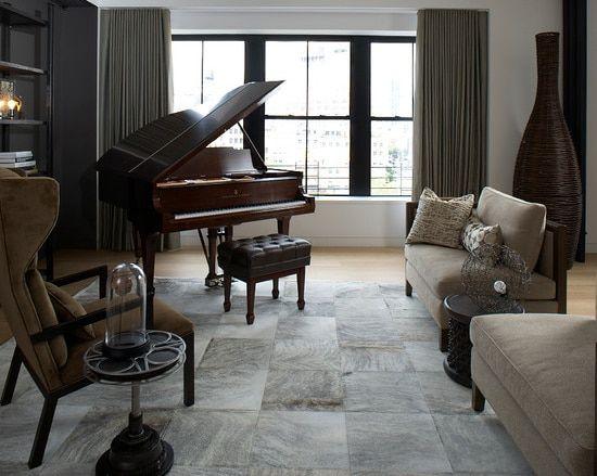 Grey Brindle Patchwork Cowhide Rug Music Room Design Living Room Loft Piano Room Design