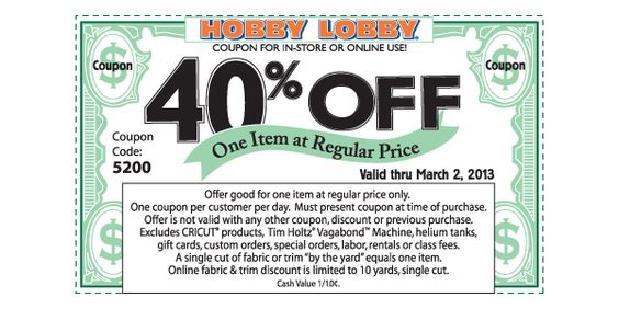 Printable Hobby Lobby Coupon 40 Off Love Free
