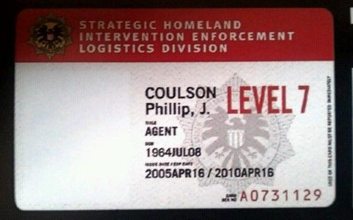 Agent Phil Coulson's SHIELD ID card.