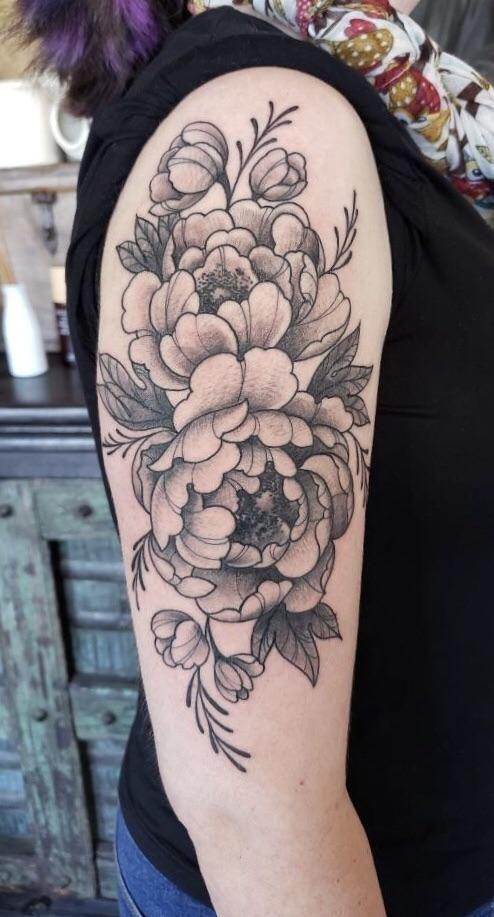 Peonies Done By Brian Savage At Black Lotus Tattooers In Gilbert Az Tattoos Tattoos Tattoo Designs Flower Tattoo