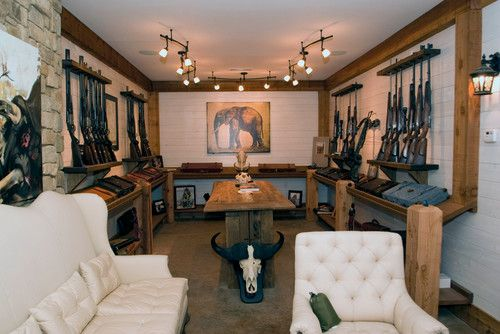 Gun rooms gun racks and home security systems on pinterest for Gun room design