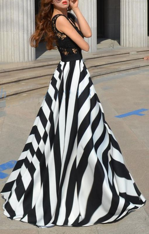 Stripes Print See-through Lace Splicing Chiffon Maxi Dress: