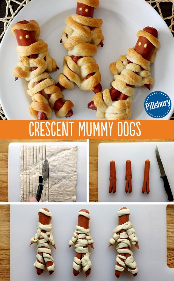 Kids aren't the only ones to dress up this Halloween! Wrap up some mummy dogs with Pillsbury crescent rolls. Ketchup and mustard eyes are the finishing touch to this kid-favorite Halloween dinner. You could even make these treats for a cute and creepy party food too!: