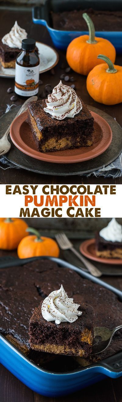 Easy Chocolate Pumpkin Magic Cake with a pumpkin pie layer and a chocolate cake…