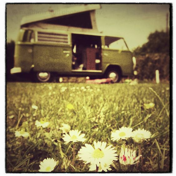 Old Daisy  FREE shipping  a green campervan in a by matthewbull, $25.00