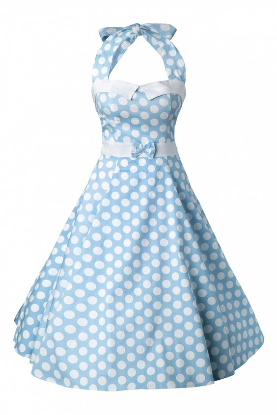 Collectif Clothing - 50s Stella Sweetheart Doll Baby Blue Polka Dot swing dress