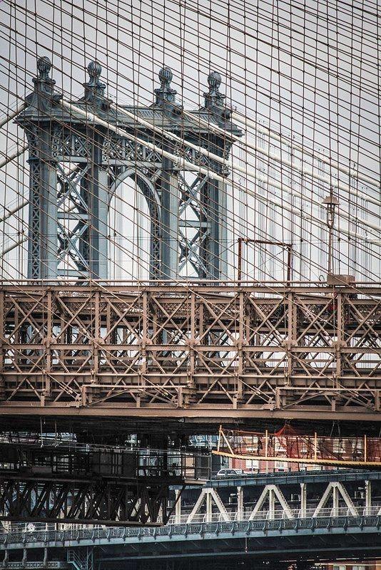 Manhattan Bridge. Brooklyn Bridge. New York City. Crossing Lines. Architecture.