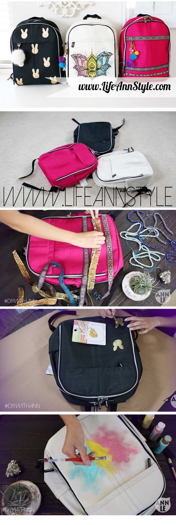DIY How to Make Backpack designs!! | lifestyle  BACK TO SCHOOL #backtoschool  | LifeAnnStyle.com
