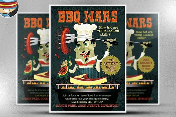 BBQ Wars Flyer Template by FlyerHeroes on @creativemarket Flyers - bbq flyer