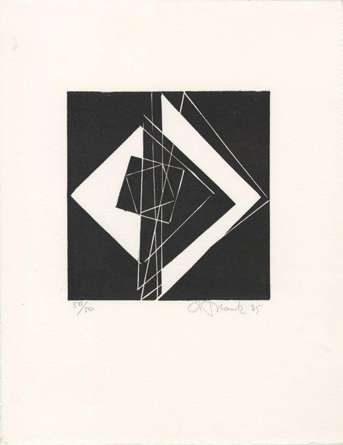 André Blank  Carré en mouvement, 1985  linogravure  290 × 225 mm (136 × 132 mm)  tirage : 50  prix : 90 €
