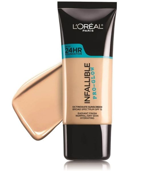 This foundation gives you a radiant complexion and stays put all day long. Infallible Pro Glow Foundation, L'Oreal Paris $12