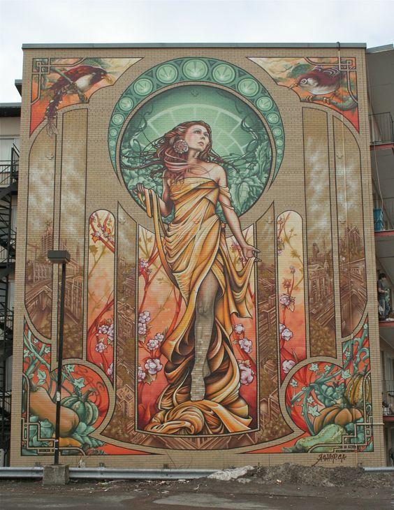 Graffiti art mural buildings art nuveau insane street for Art mural montreal