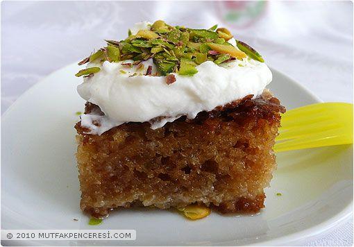 samolina cake soaked in light syrup ( Turkish Revani)