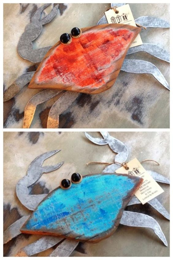 """Fleurty Girl - Everything New Orleans - Recycled Wood Crab Wall Art, $32. Made right here in New Orleans by a local artist from recycled materials. We love the """"distressed"""" paint."""