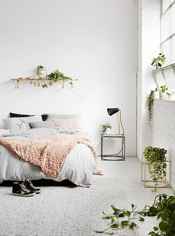 clean white bedroom with plant details | home decor idea | exposed white brick | minimal interiors