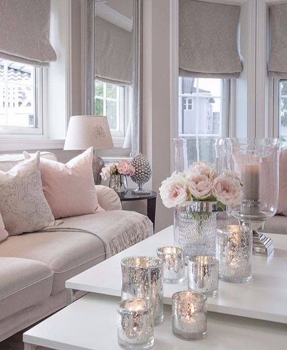 Soft White Silver Pink Pink Living Room Living Room Designs Living Room Grey #white #and #silver #living #room