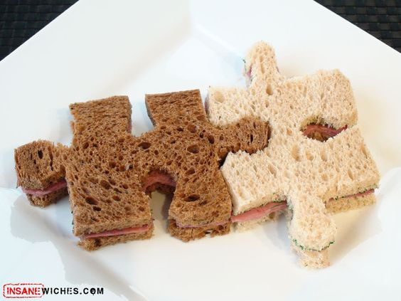 Make sandwich's or even cake pieces into a puzzle!! Great for kids.