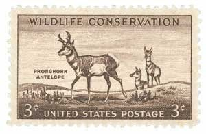 #1078 - 1956 3c Pronghorn Antelope Postage Stamp Numbered Plate Block (4) . $0.35