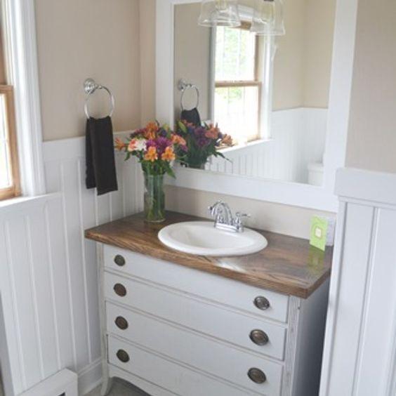 Bathroom makeover farmhouse style bathrooms gray vanity - 24 inch farmhouse bathroom vanity ...