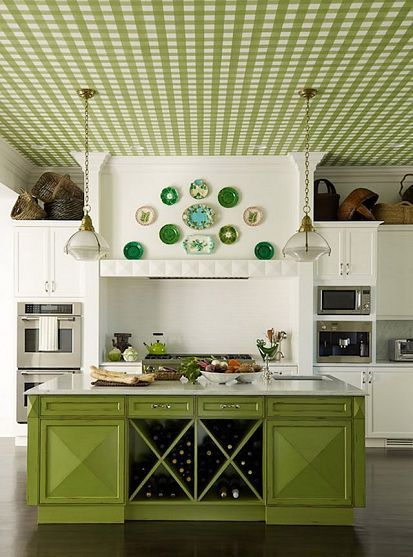 green accents, crazy ceiling