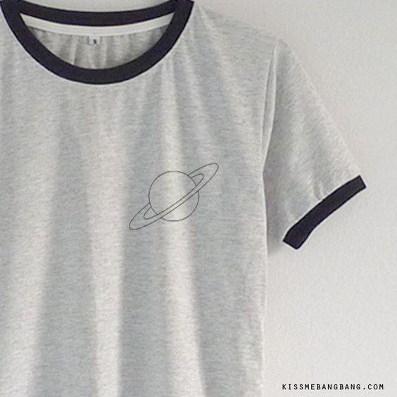Saturn Ringer Tee $13.99 ; Saturn  Shirt ; Graphic ; #Tumblr ; #Hipster Teen Fashion