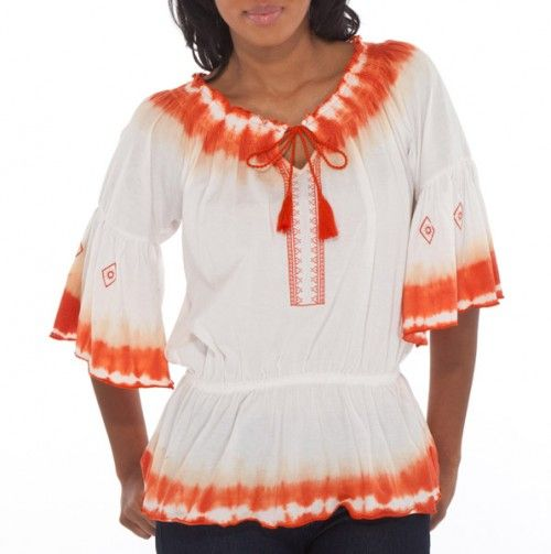 Tie-Dye Drop Waist Peasant Top - Apparel for Mom $22 & Under - Events