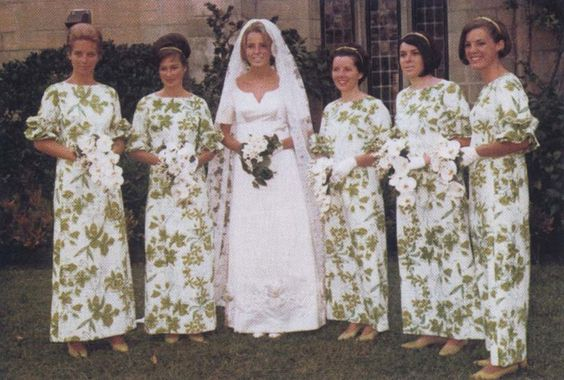 1966 bride with her attendants (in custom Lilly Pulitzer dresses).  Wow...times HAVE changed!: