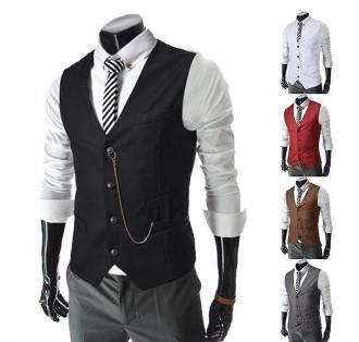 Men Slim Fit Vest with Chain