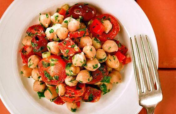 Marinated chickpea salad with chorizo