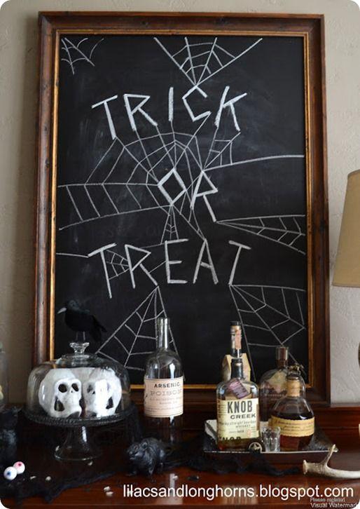 DIY Chalkboard with Halloween Chalk Art