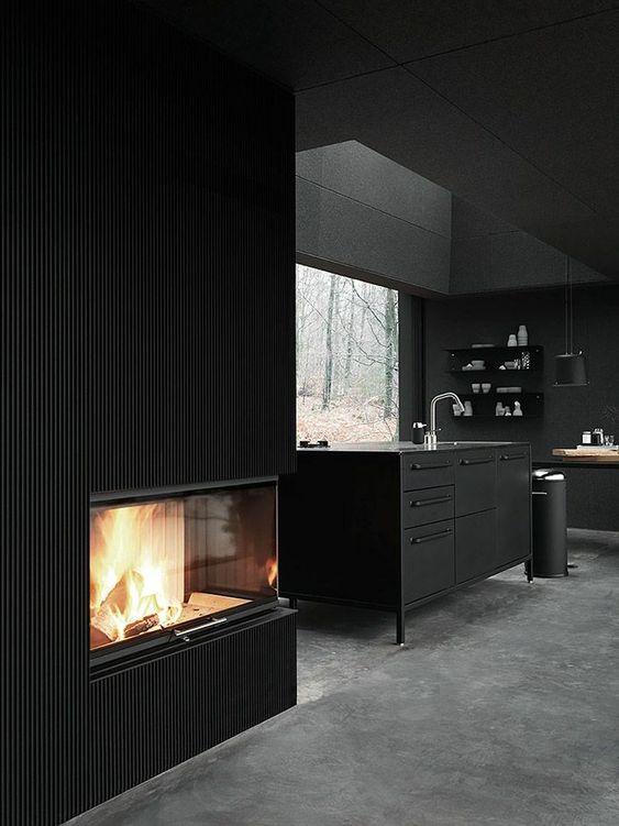wandfarben ideen schwarze wandfarbe küche kücheninsel kamin ...