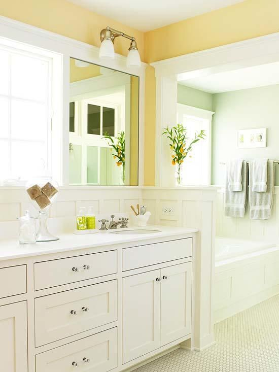 Citrusy Colors Of Paint Divide This Traditional Master Bath Into