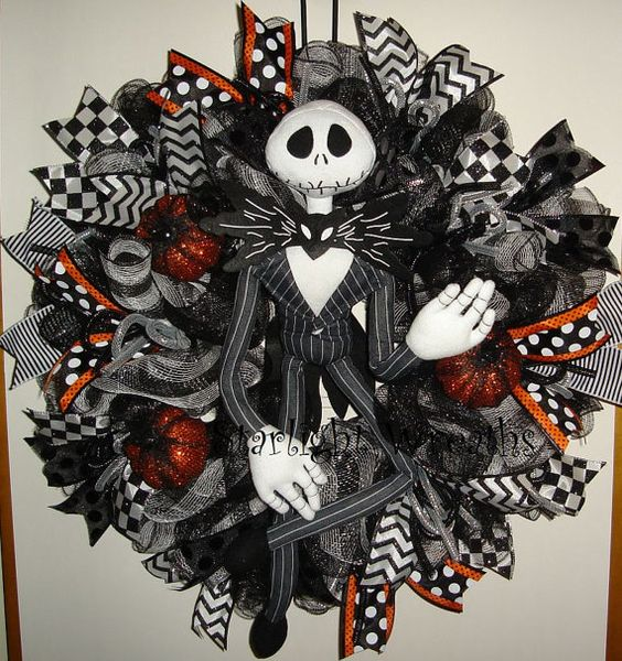 Jack skellington mesh wreath nightmare before christmas - Jack skellington decorations halloween ...