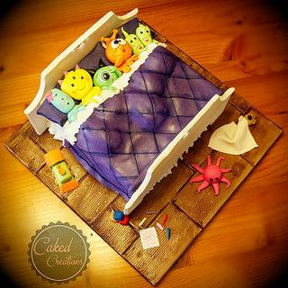 www.facebook.com/cakednz Thanks Brenda @sugarhighinc for your awesome tutorial! Here's my monsters in a bed. Loved making this.. so much fun.  | by cakedcreations  #sugarhigh #cake #birthday #sugarart #fondant #kidscakes #toys #monster
