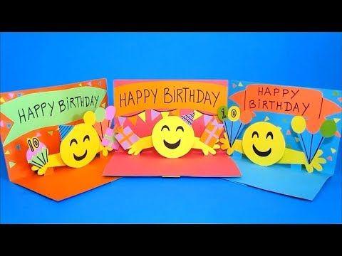Diy Pop Up Card 3d Emoji Birthday Cards Easy Crafts For Kids Youtube Card Making For Kids Easy Crafts For Kids Diy Pop Up Cards