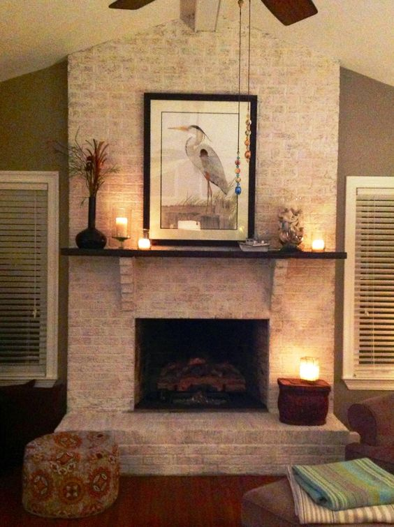 Fireplace painted with Amy Howard at Home One Step Paint