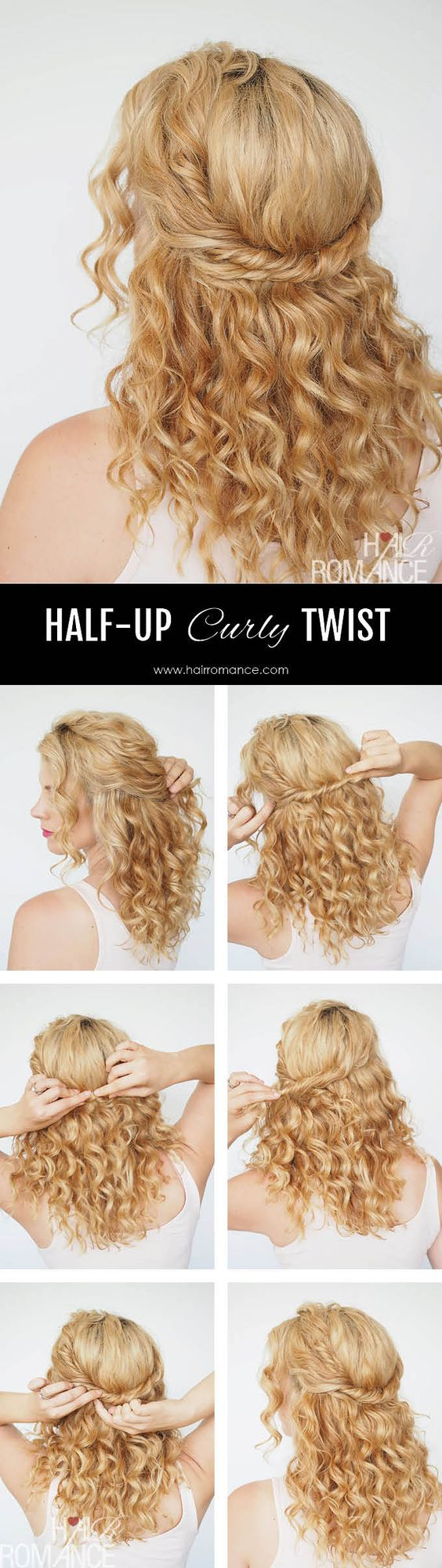 Chic and simple half-up twist tutorial (Hair Romance)