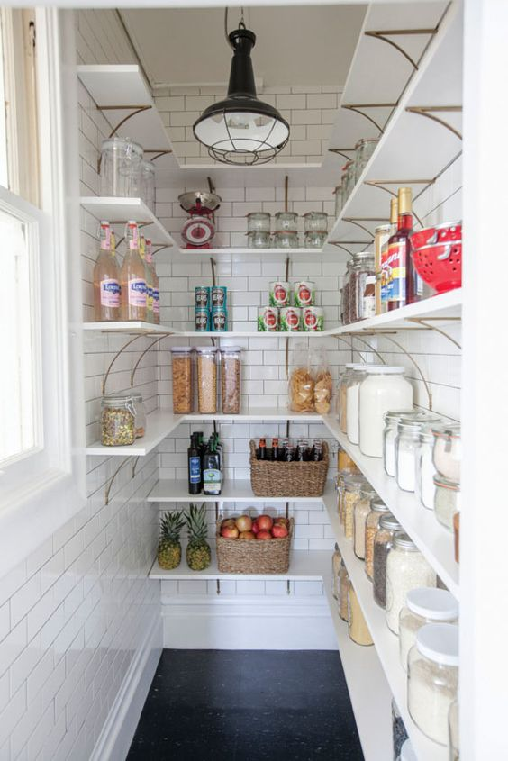 pretty subway tile pantry closets organization. Black Bedroom Furniture Sets. Home Design Ideas