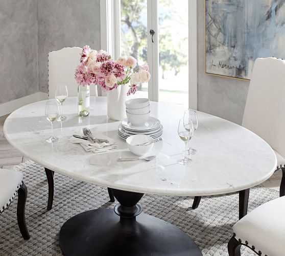Chapman Oval Marble Pedestal Dining, Oval Dining Room Sets