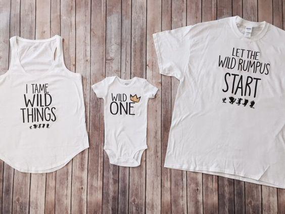 Wild Things Shirt Set Mom Dad Baby