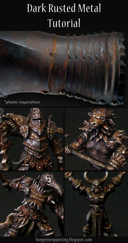 Dark Rusted Metal Tutorial In 2020 Painting Rusted Metal Warhammer Paint Mini Paintings