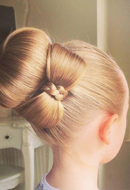 Easy Hairstyles For Girls In 2020 Hair Bow Bun Kids Hairstyles Hair Styles