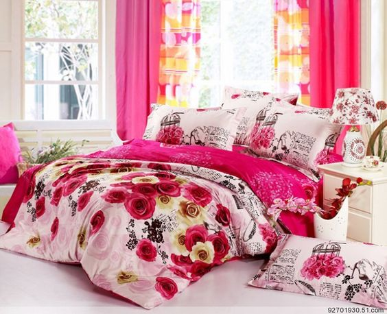 Pink rose floral bedding covers,100% Activety cotton bedding sets ,Full/Queen size, EMS Free Shipping