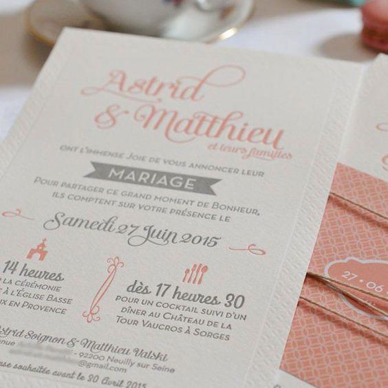 Faire-part de mariage en Letterpress rose blush et gris