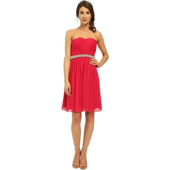 Calvin Klein Strapless Dress with Beading at Waist CD6B1V7E (Fuchsia)... ($75) ❤ liked on Polyvore featuring dresses, pink, pink strapless dress, red a line dress, red chiffon dress, red cocktail dress and red strapless cocktail dress