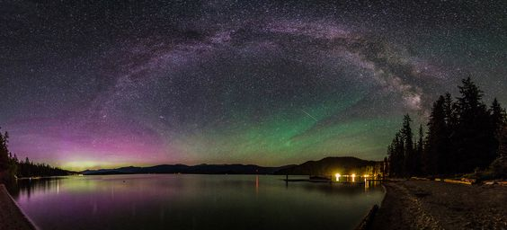 """Idaho, USA: """"I was hoping to just get pictures of the Milky Way and the Aurora Borealis decided to show up for the party,"""" writes photographer Craig Goodwin."""