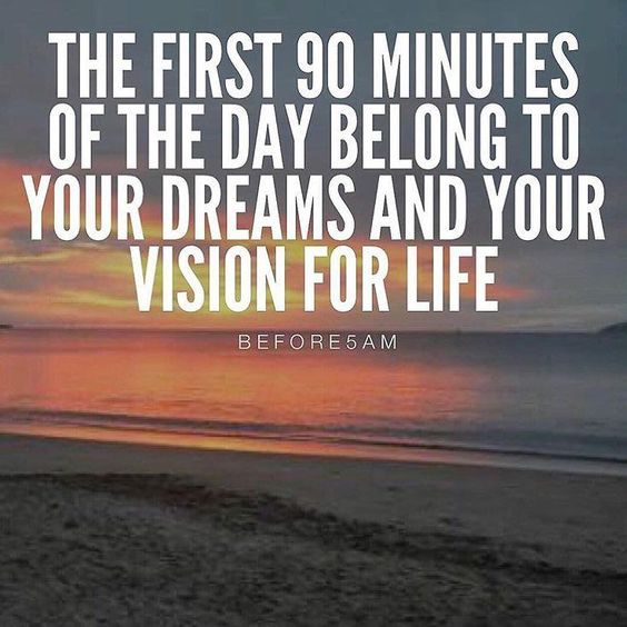 The first 90 minutes of the day are yours to work on and create the life you truly want to live! Between 4:30am and 6am is when I work on myself my body my dreams and my vision for life....distraction free and with a fresh mind body and soul! For most of you waking up that early is a weird concept but for me waking up and rolling out of bed to go to work for someone else is a weird concept.....if you're not doing something for your own pleasure personal development and your dreams when you w...
