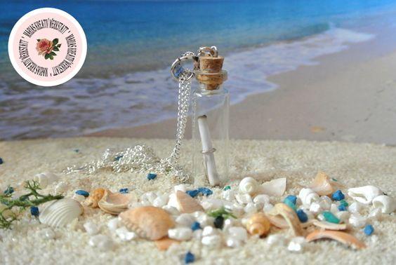 Maritime Fläschchen-Kette mit Flaschenpost & Sand