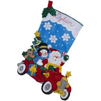 Holiday Drive Stocking Felt Applique Kit